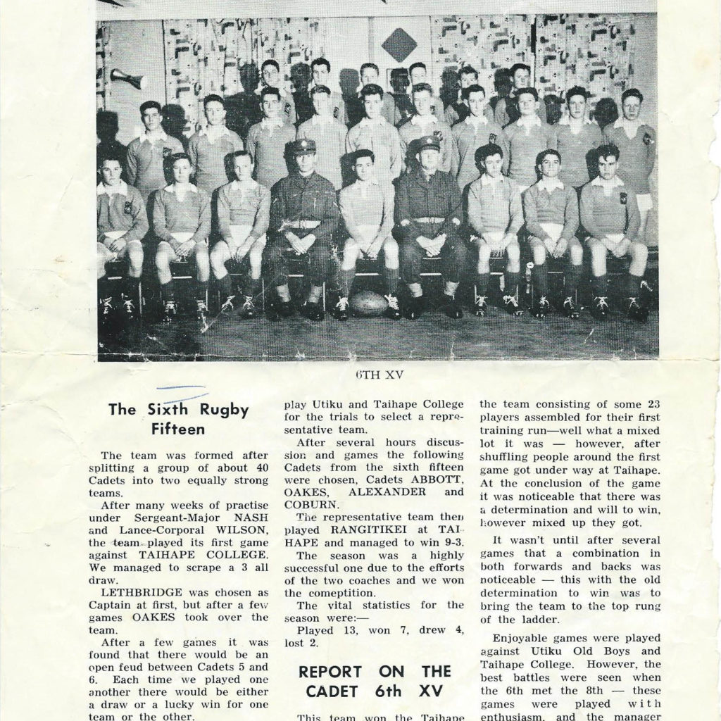Cadets 6 XV Rugby Cup Winner 1964